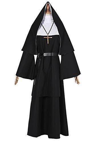 Disfraz de monja de mujer Pastor negro Cosplay Traje de pastor misionero de Jesucristo Disfraz de carnaval de Halloween con tocado y cinturon,3XL