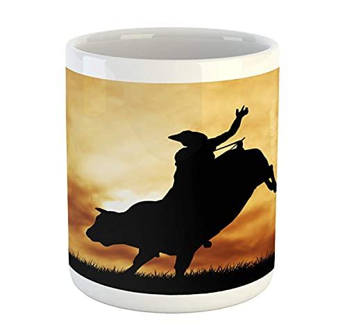 N\A Taza Occidental, Silueta de Jinete de Toro al Atardecer, Cielo dramático, Campo Rural, Paisaje, Rodeo, Taza de café de cerámica para Bebidas de té de Agua, 11 oz, ámbar Negro
