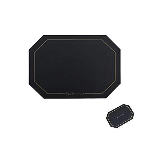 KANJJ-YU Platzdeckchen aus PU-Leder (43,2 x 30 cm) und Untersetzer (14 x 9,9 cm), rutschfest, schmutzabweisend, hochwertig, Farbe: Schwarz
