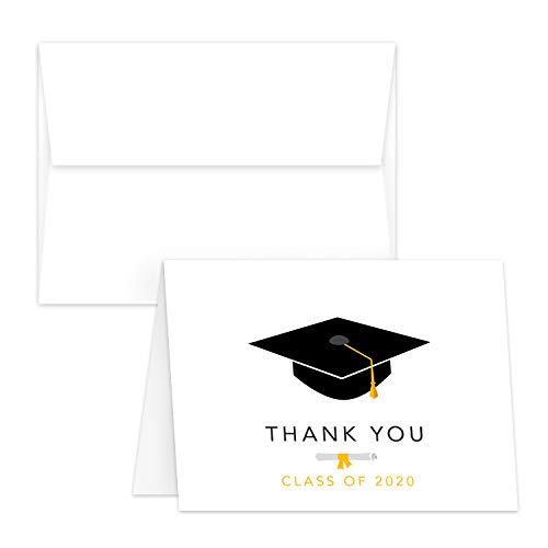 Dankeskarten zum Abschluss - niedliche und stilvolle Grußkarte, Anerkennung, Feierlichkeitskarte, A2, Format 4,25 x 5,5 Zoll (gefaltet), 80lb (216 gsm), 25 Karten und Umschläge pro Packung Klasse 2020