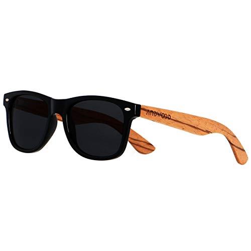 ANDWOOD Gafas De Sol De Madera Polarizadas Mujer Hombres Protección Contra Rayos Ultravioleta Marco De Bambú