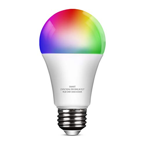 YU YUSING Lampadina Wifi Intelligente E27 LED, Smart Lampadina RGB + Dimmerabile 3000K-6500K, Lampadine Multicolore Compatibile con Alexa/Google Home, 2.4GHz WiFi, 1 Pezzo