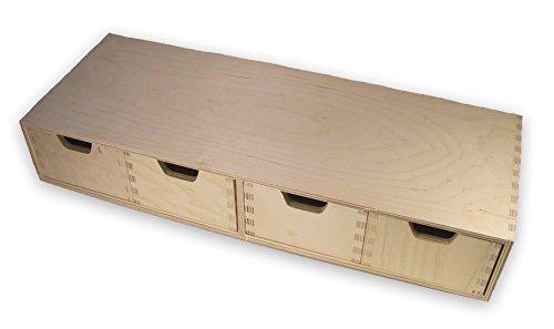 MidaCreativ stabiles Schubladen-Regal, Wandregal, mit 4 Schubladen, Holz unbehandelt