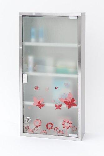 Armadietto per medicinali in acciaio inox e vetro opaco, XXL, 60 cm, con farfalle
