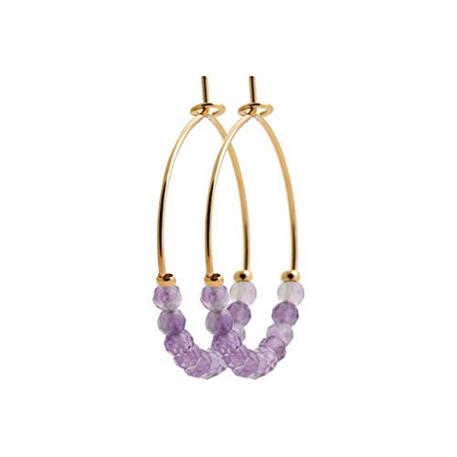 Tata Gisèle Hoop Earrings 18 Carat Gold Plated Natural Amethyst Stones with Velvet Bag