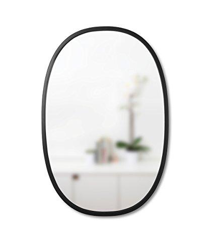 Umbra Hub Espejo de pared ovalado, 61x91 cm, Negro