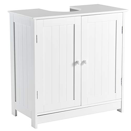 DICTAC Waschbeckenunterschrank Badezimmerschrank Bad Unterschrank Weiß Holz 60 x 60 x 30 cm, Badregal mit Siphonausschnitt 20 x 20,5 cm,Waschtischunterschrank freistehend
