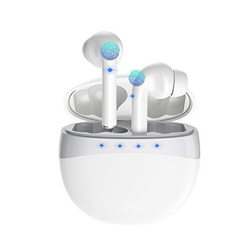 Bluetooth Kopfhörer, ZBC Kabellose Kopfhörer mit Bluetooth 5.0 TWS Noise Cancelling Sport Headset In Ear Ohrhörer Stereo Wasserdicht mit Mikrofon für Android iOS Phones Windows (Weiß)