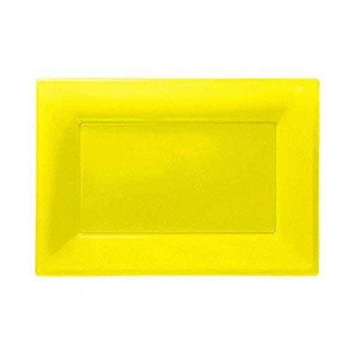 amscan - 3 Piatti da Portata, in plastica, Giallo Solare