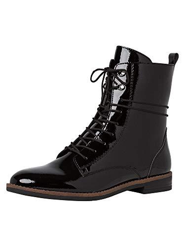 Tamaris Damen Stiefel, Frauen Schnürstiefel, weiblich Lady Ladies Women's Women Woman Freizeit leger Boots Combat,Black PATENT,39 EU / 5.5 UK