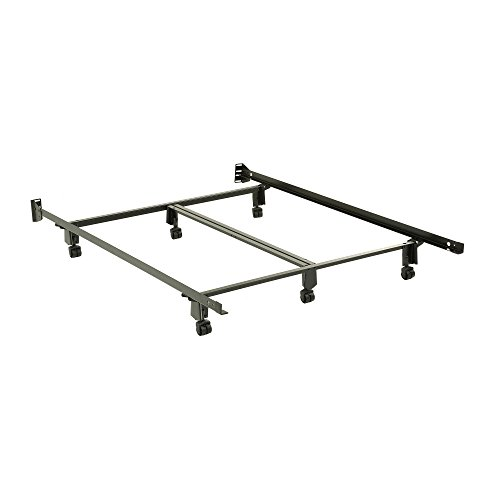 Leggett & Platt Inst-A-Matic Premium Bed Frame 761R with Headboard Brackets and (6) 2-Inch Locking Rug Roller Legs, Black Finish, Queen