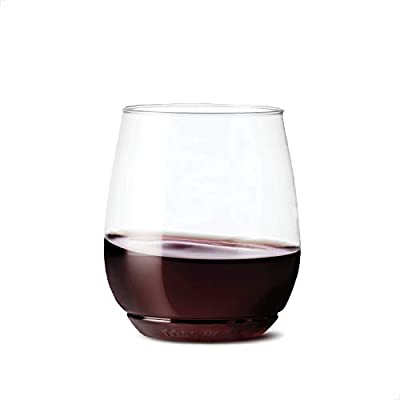 TOSSWARE 14oz Vino SET OF 48, Recyclable, Unbreakable & Crystal Clear Plastic Wine Glasses