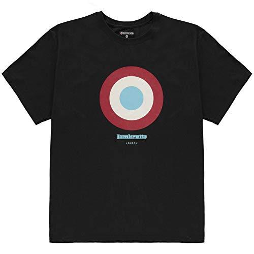 Lambretta Herren Target T Shirt Kurzarm Rundhals Freizeit Schwarz XL