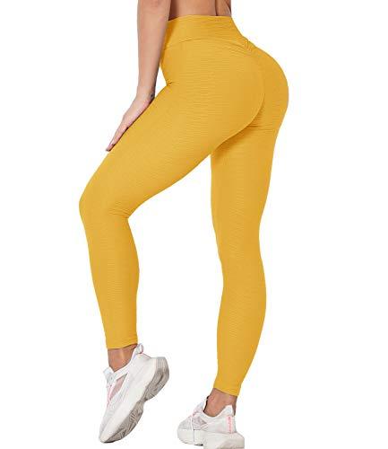 DUROFIT Leggings Anticellulite Donna Pantaloni Sportivi Push up Scrunch Butt Yoga Pants Vita Alta per Fitness Giallo S