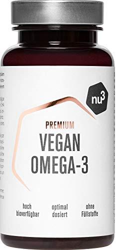 nu3 Omega-3 Vegan 60 Kapseln - Hoher Gehalt an den Omega-3-Fettsäuren DHA & EPA - rein pflanzlich aus Algenöl - 100% natürlich mit veganer Kapselhülle –