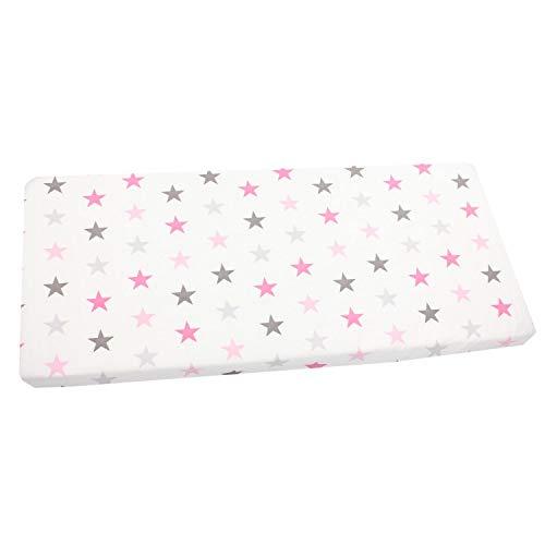 TupTam Baby Spannbettlaken mit Gummizug Gemustert, Farbe: Sterne Rosa Grau, Größe: 90 x 200 cm