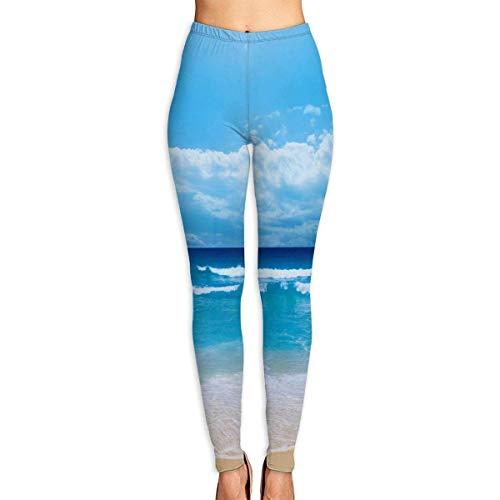 JJsister Pantalones de Yoga, Women's The Island Coastal Printed Leggings Full-Length Yoga Workout Leggings Pants Soft Capri