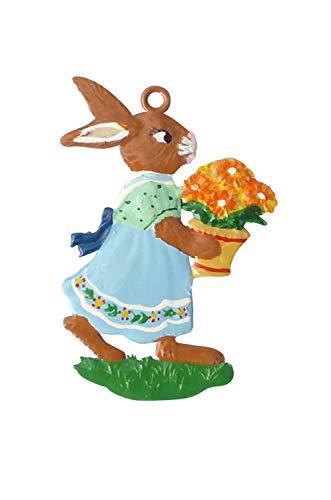 Zinngeschenke Osterhase mit Blumenstrauß beidseitig von Hand bemalt aus Zinn (HxB) 6,0 x 4,0 cm, Osteranhänger, Oster deko, Osterhasen deko