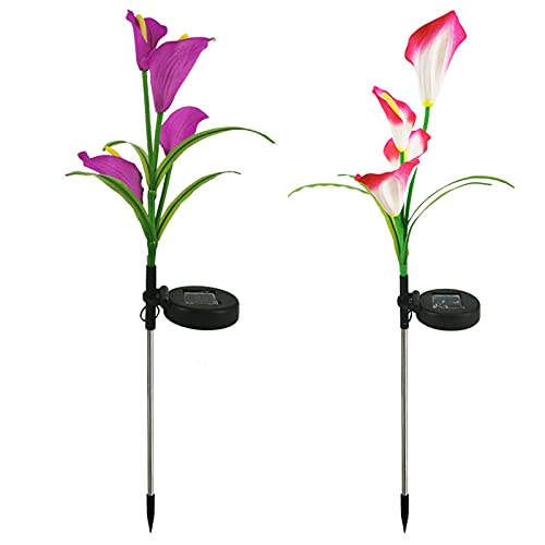 Rpporm 2PC Waterproof Indoor Outdoor LED Solar Lights Lawn Garden Decoration Simulation Calla Flower Lights Fairy Tale Lighting for Patio Pathway Wedding