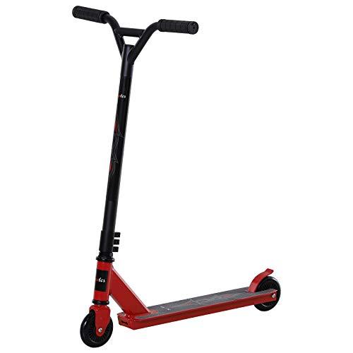 HOMCOM Pro Stunt Scooter, Tretroller, Freestyle Tricks, mit 100mm PU-Rädern, für Kinder und Erwachsene, Alu, Rot