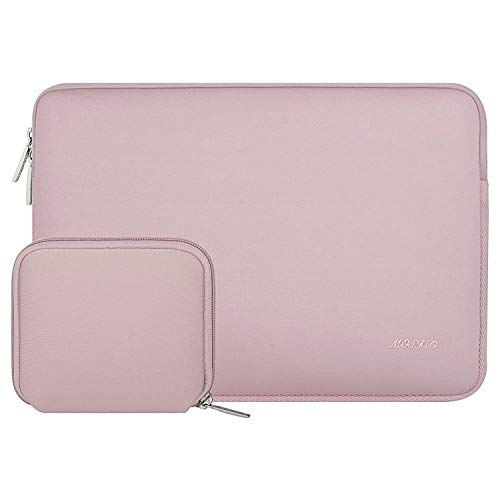 MOSISO Laptop Sleeve Compatible with MacBook Pro 15 inch Touch Bar A1990 A1707, Dell XPS 15,ThinkPad X1 Yoga (1-4th Gen),Surface Laptop 3 15, Water Repellent Neoprene Bag with Small Case, Baby Pink