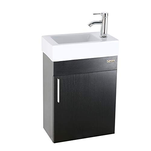 eclife 18.4'' Bathroom Vanity Combo, Modern Design Wall Mounted Vanity Set with Porcelain Ceramic Sink Top & Chrome Faucet & Flexible U Shape Drain (T02E01)