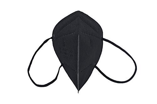 AIRNATECH Mascarilla Protectora FFP2 NR Negra - 10 Unidades - Fabricada en España - Certificado CE 0161 EN149:2001+A1:2009. 5 capas Spundbond, Melt-blown, High Fiber Cotton