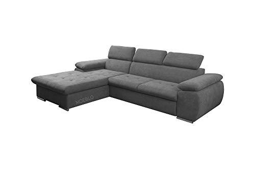 mb-moebel Ecksofa mit Schlaffunktion Eckcouch mit Bettkasten Sofa Couch L-Form Polsterecke NILUX (Dunkelgrau, Eckofa Links)
