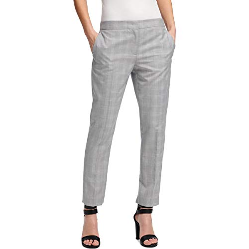 DKNY Womens Plaid Office Ankle Pants Gray 12