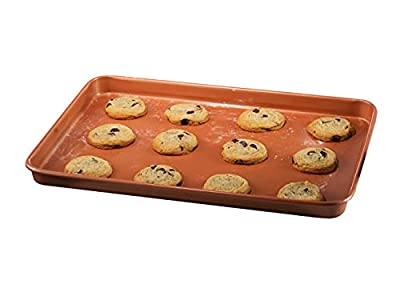 """Gotham Steel 1389 Nonstick Copper Cookie Sheet and Jelly Roll Baking Pan 12"""" x 17"""" ? 1 PACK, Brown"""