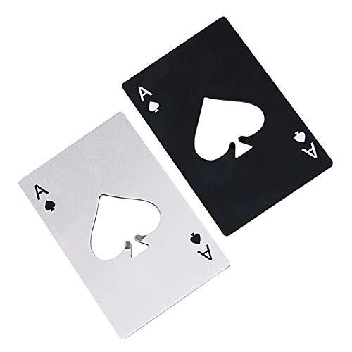Airoads Ace of Spades Fles Opener Credit Card Size Pocker Cap Opener Draagbare RVS Can Opener (2 Pack Zwart & Zilver)