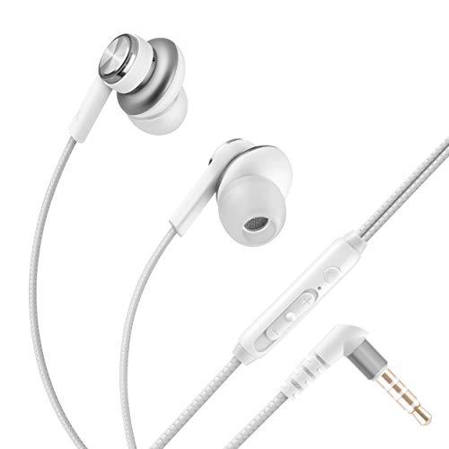 STEREN Audífonos de oído Manos Libres, con Control de Volumen y Tipo cordón (Blanco)