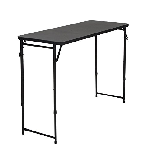 "CoscoProducts COSCO 20"" x 48"" Adjustable Height PVC Top Table, Black"