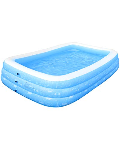 """Inflatable Swimming Pool, Gladle Family Kiddie Pool 118""""x73""""x20"""" Full Sized for Family, Garden, Outdoor, Backyard, for Ages 3+"""