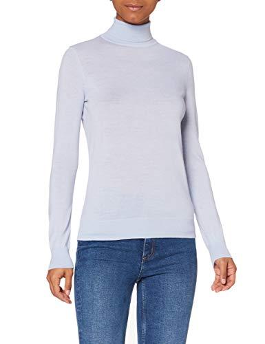 Amazon-Marke: MERAKI Merino Rollkragenpullover Damen, Blau (Light Blue), 38, Label: M