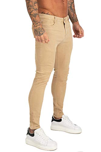GINGTTO Khaki Jeans for Men Slim Fit Mens Jean Stretchy Tapered Leg 30 Waist 30 Length