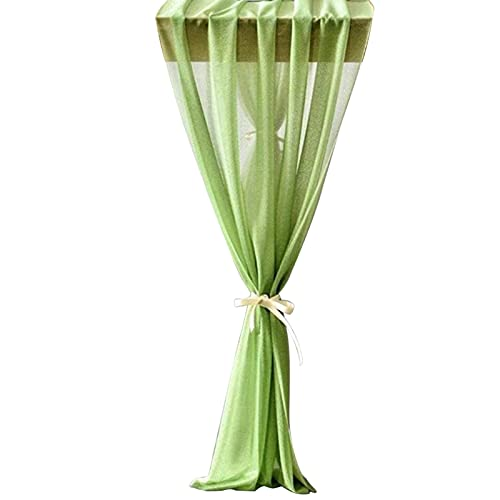 Camino de mesa para decoración de mesa, color sólido, decoración romántica, de gasa, para bodas, despedidas de soltera, color verde haba 2