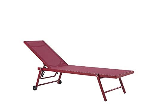 Beliani Moderne Gartenliege mit Rollen Aluminiumgestell Textilbespannung rot Portofino