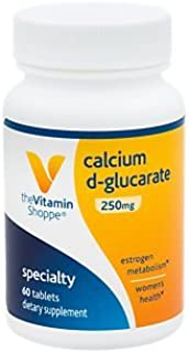 The Vitamin Shoppe Calcium DGlucarate 250MG, Natural Substance for Women's Health That Supports Estrogen Metabolism Hormone Balance Through Detoxification (60 Tablets)