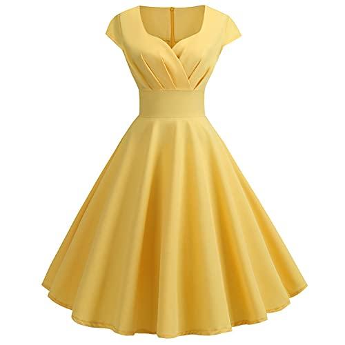 abito donna giallo EMPERSTAR Abito da Cocktail Party retrò con Scollo a V nostalgico Estivo Anni '50 da Donna Giallo M