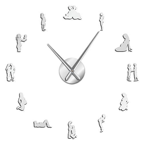 YQMJLF Reloj Pared DIY 3D Grande Embarazo decoración Pared DIY Gran Reloj Pared silencioso Mujeres Embarazadas recién Nacido bebé mamá ser Reloj Gigante Decorativo Regalo inauguración casa Plata