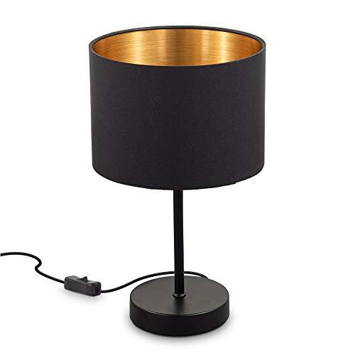 B.K.Licht I Stoff-Tischleuchte Schwarz-Gold I E27 I 1-flammige Tischlampe I Stoffschirm 20 cm I 140 cm Kabelschalter I ohne Leuchtmittel