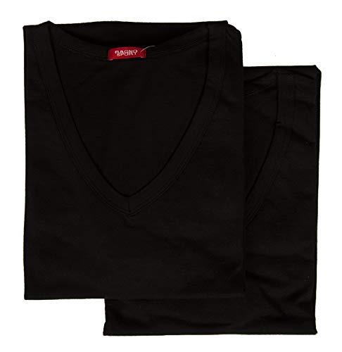 RAGNO Confezione 2 t-Shirt Uomo Maglietta Intima Manica Corta Camiciola Scollo V Cotone Bipack Sport Articolo 601418, 020B Nero, 6-SESTA (EU XL - F 5 - USA L - GB 38)