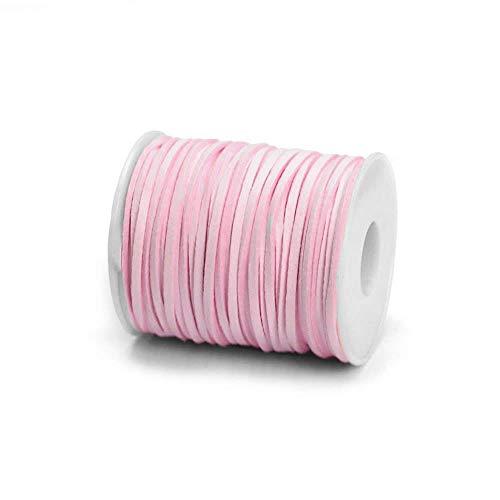 RUBY - Bobina Cordón de Antelina 3mm x 2mm de 30 Metros Hilo de Cuero Falso para hacer Manualidades Pulsera o Collar Fabricación de Bisutería y Abalorios (Rosa Pastel)