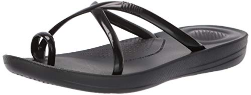 FitFlop Women's iQUSHION Wave Pearlised Cross Slides Sandal, Black, 8 M US