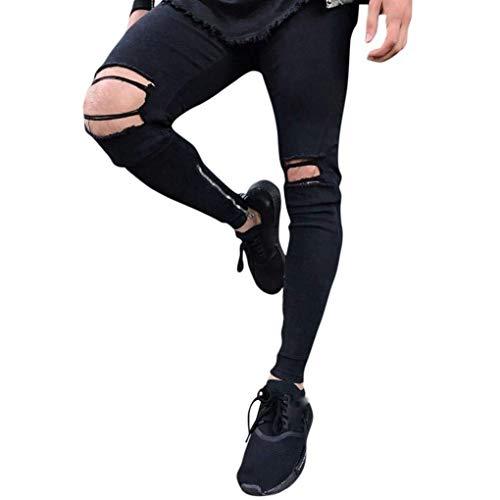 Targogo Jeans Hose,Dasongff Männer Nner Jeanshose Stretch Hosen Skinny Destroyed Look Zerrissen Löcher Cher Bikerjeans Skinny Jeans Denim Hose (Color : Schwarz, Size : 28)