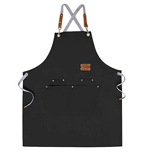 Chef Apron-Cross Back Apron for Men Women with Adjustable Straps and Large Pockets,Canvas,M-XXL,Black