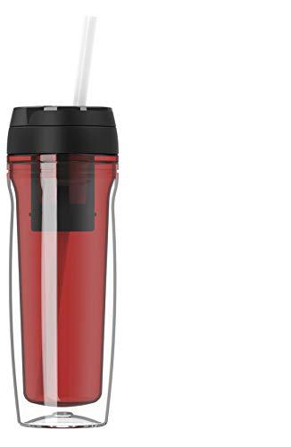 Botella de agua de alta calidad, 500 ml, para café y té, aislada para bebidas calientes y frías, colador de té, pajitas de frutas, color rojo