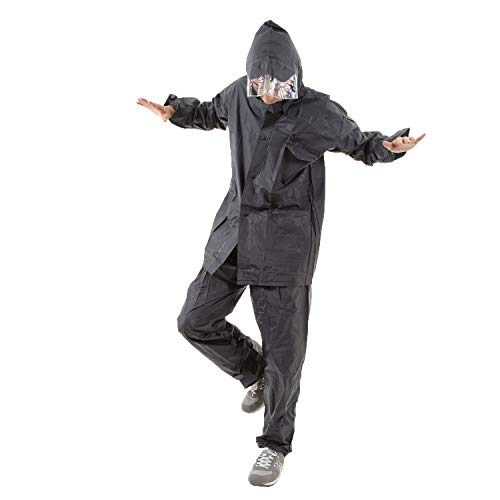 Eco Ride World レインコート レインウェア 雨具 上下 セット raincoat_100 (M, ネイビー)