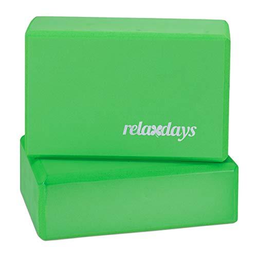 Relaxdays Pack de 2 Bloques de Yoga, Adultos Unisex, Verde, 8 x 23 x 15 cm
